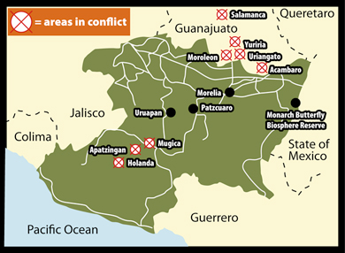 Michoacan State Map.Narcos Blockade Michoacan Highways After Bloody Battle With Feds