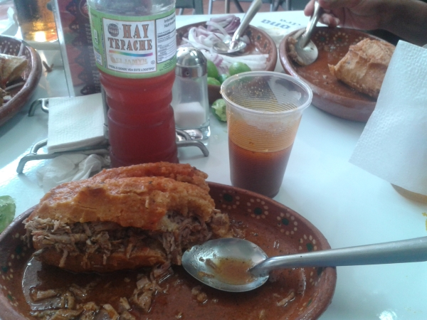 Tepache perfectly complements much Mexican cuisine, like Guadalajara's fiery tortas ahogadas.