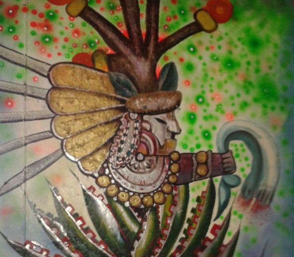 A mural of Mayahuel, the goddess of maguey, in Guadalajara's La Pulkata.