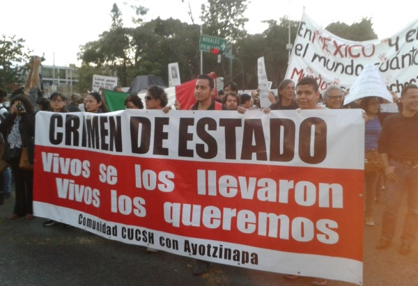 Students from the University of Guadalajara demand the safe return of their counterparts from Ayotzinapa.
