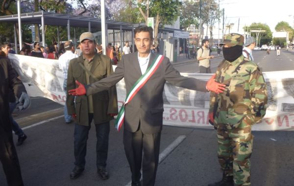 Alfredo Romero led a march through Guadalajara last week to mark six months since 43 students disappeared at the hands of corrupt police officers in Guerrero.