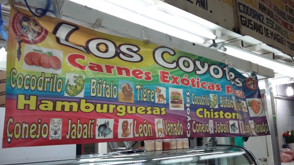 Los Coyotes sells lion and tiger burgers for 100 pesos ($6) each.