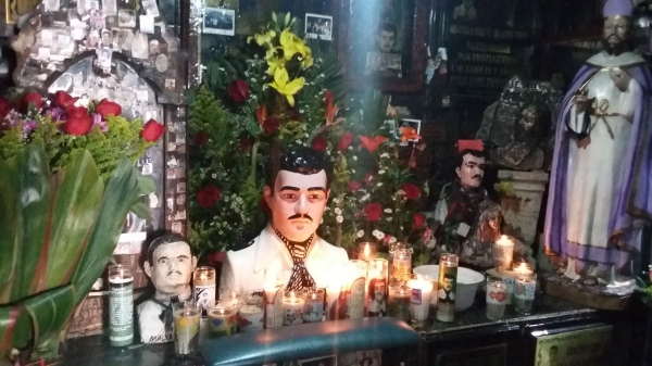 The shrine to Malverde, the patron saint of outlaws and drug traffickers, in Culiacán draws visitors who leave donations in the hope that their prayers for protection be answered.