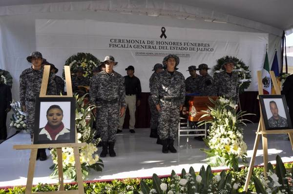Two state police officers were murdered in Guadalajara on Monday.