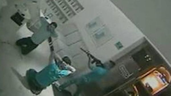 Leaked CCTV footage shows the moment cartel gunmen burst into the restaurant.
