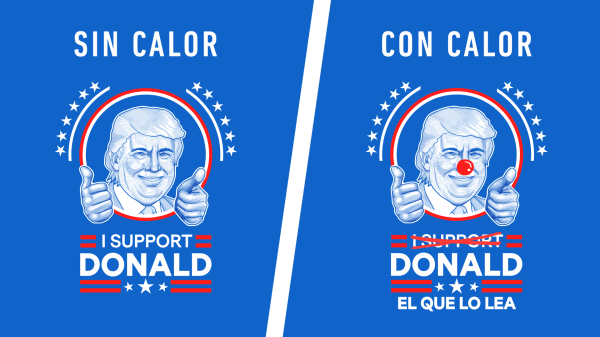 The message on the t-shirts that Cucapá sold changes in hot temperatures.