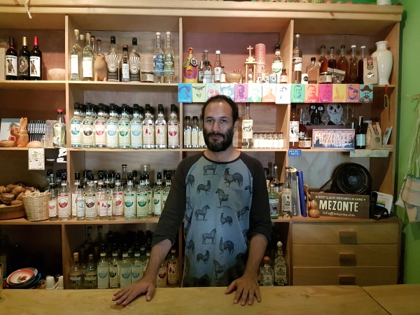 Pedro Jiménez keeps his bar stocked with about 70 different mezcals at any given time.