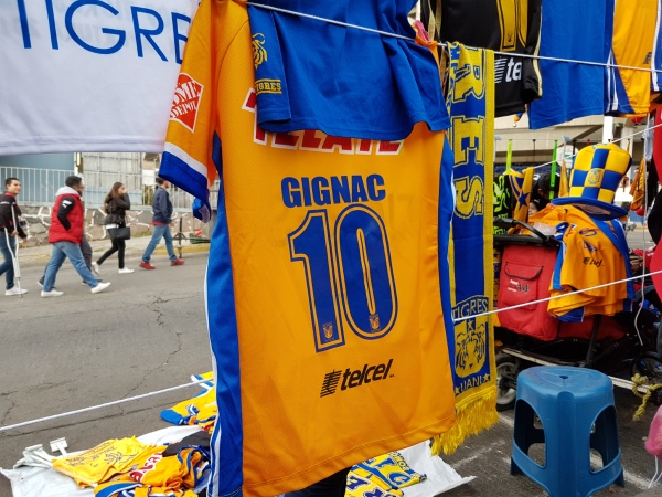 Vendors outside Tigres' stadium say shirts with his name are by far the most popular